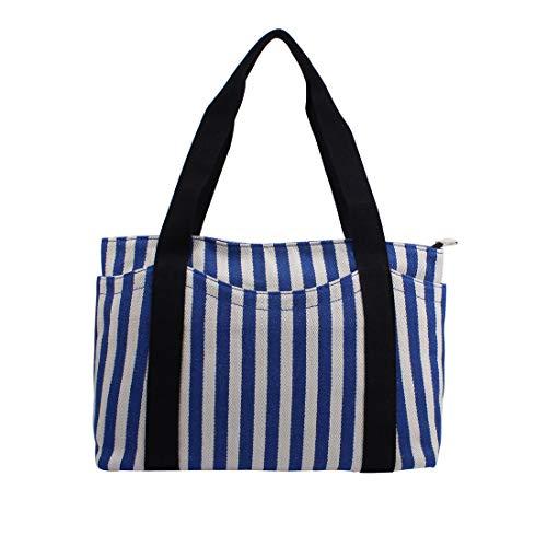 Canvas Tote Bag with Multiple Pocket/Zipper Closure Sholuder Bag/Travel Bag for Weekend/7 Pocket/Perfect Bag for Gift (Blue ()