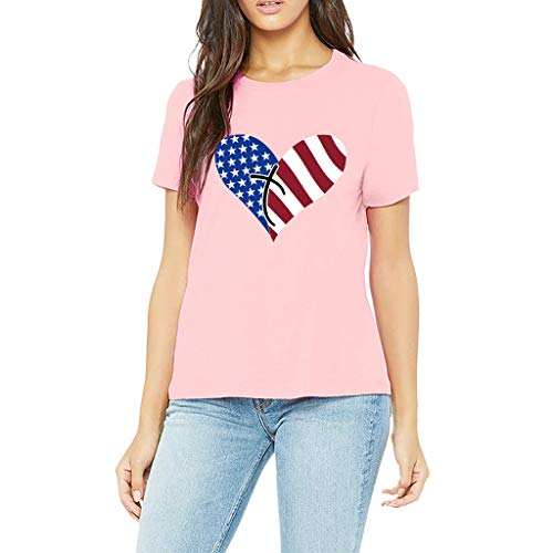 Smdoxi Summer Short Sleeve Vest Top American Flag Print Independence Day Style Fashion Casual Women's Shirt Pink]()