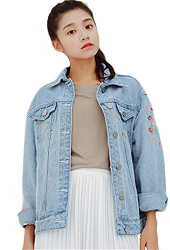 Breasted Accogliente Bavero Jeans Elegante Donna Con Giubotto Lunga Single Tasche Cappotto Blu Casuale Floreale Baggy Donne Autunno Battercake Manica Moda Ricamo Casual Giubbino Giacche O1wwqx57