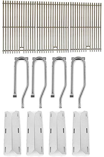 Jenn-Air 720-0337, 720-0586A, 720-0586A Gas Grill Repair Kit Includes 4 Stainless Heat Plates and 4 Stainless Steel Burners and Stainless Steel Grates - Grill Set Gas