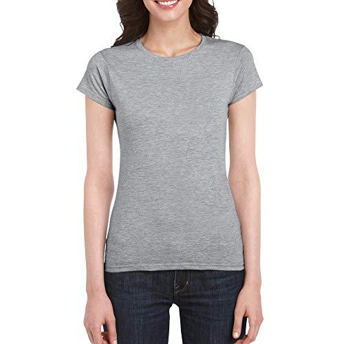 Gildan Women's Fitted Cotton T-Shirt, 2-Pack, Sport Grey, Medium