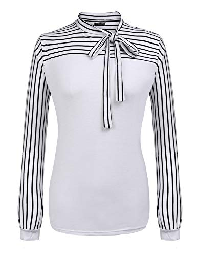 IN'VOLAND Plus Size Blouses for Women Tie-Bow Neck Striped Blouse Long Sleeve Shirt Splicing Office Work Shirts Tops White (The Best Pussy Shape)