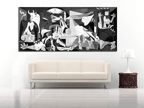 Cuadro Lienzo el Guernica de Picasso - 60x27 cm - Lienzo de Tela Bastidor de Madera de 3 cm de Grosor - Fabricado en Espana - Impresion en Alta resolucion y Calidad (60, 27)