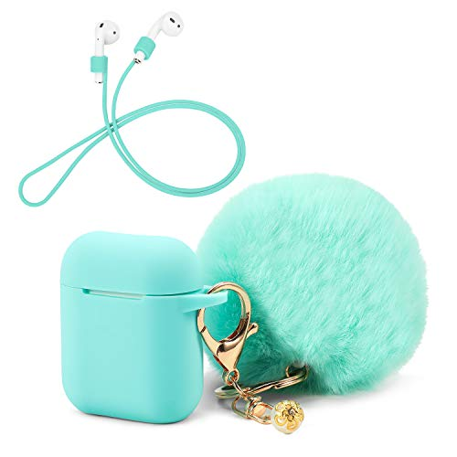 OOTSR Protective Case Cover with Cute Pompom Ball Keychain Compatible With Apple Airpods Charging Case, Full Protective…