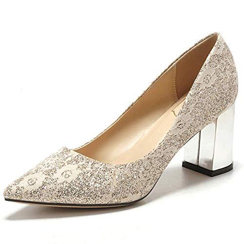 Heels Block Champagne 5cm es Women Transparente 7cm Ferse Dekorative High Voll Gold Court Shoes sequenchtete 450 Fersen 7qzwUz5F