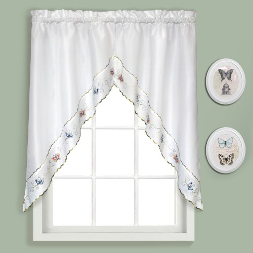 United Curtain Butterfly Embroidered Swags, 60 by 36-Inch, Multi, Set of 2