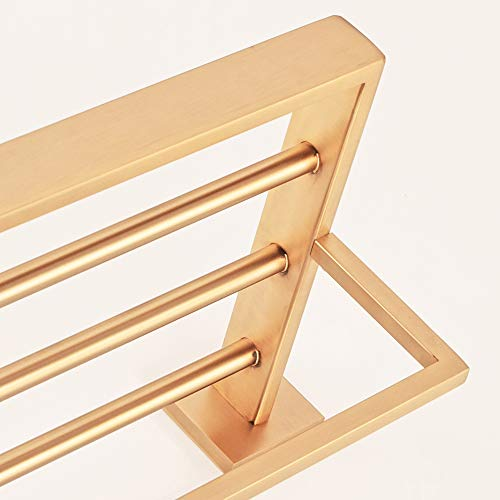 WINCASE Bathroom Bath Towel Shelf, Towel Holder, Brushed Gold Finished 23.6 Inch Solid Stainless Steel Construction, Vintage Style Wall Mounted by WINCASE (Image #7)