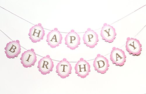 Once Upon a Time- Birthday Banner   Princess Theme   Happy Birthday   Birthday Decorations   Photo Prop   Pink and Gold   Girl Birthday Party Decorations   Baby Shower   Ballerina   Modern Kids Party ()