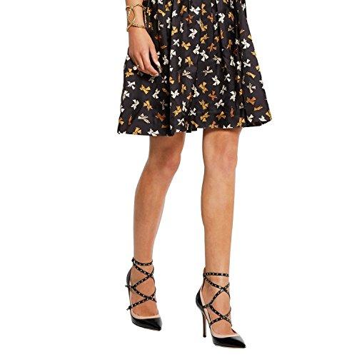 Coolcept Scarpe Col Tacco Alto Donna Scarpe A Punta Croce Cinturino Alla Caviglia Con Borchie Dressy Mary Jane Nero