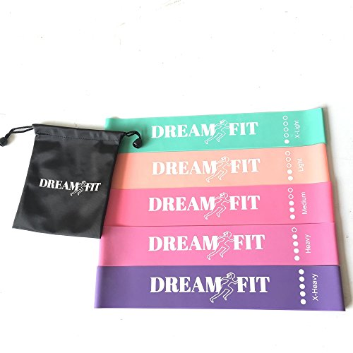 Dream Fit Collection Resistance loop exercise bands. Set of 5 with Carry bag for fitness, exercising, and mobility (Fit Collection)
