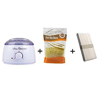 Depilacion corporal Crema depilatoria cera calentador maquina, cera caliente olla + 50 espatula de madera