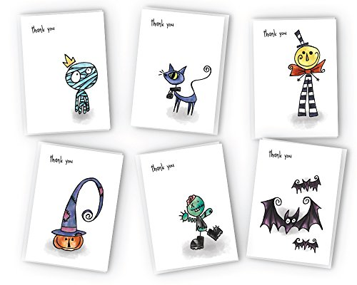 Halloween Thank You Cards Collection - 24 Cards & (Halloween Spooky Words)