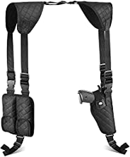 ACEXIER Concealed Tactical Adjustable Shoulder Pistol Gun Holster Adjustable Vertical Gun Holster with 2 Mag P