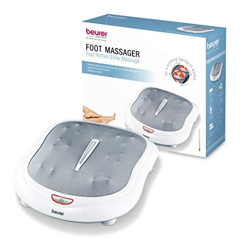 Beurer Shiatsu Foot Massager with 18 Rotating Massage Nodules for Tired Feet, Plantar Fasciitis and Nerve Pain, 2 Speed Settings, Built in Heat Function, FM60