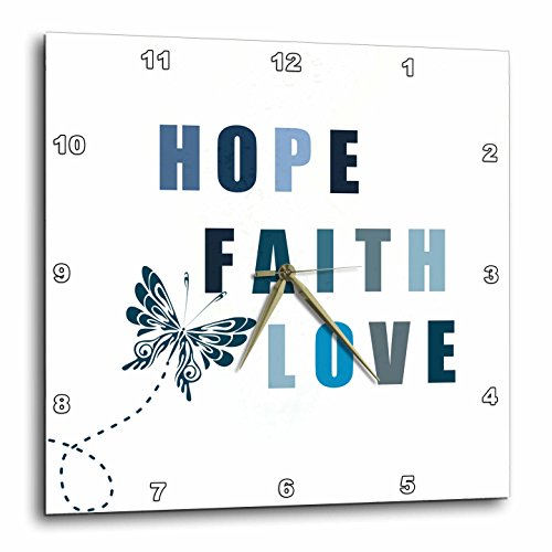 Cheap 3dRose dpp_99181_2 Blue Butterfly Inspirational Hope, Faith and Love-Wall Clock, 13 by 13-Inch