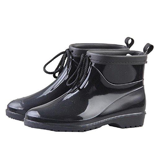 Europe and America Fashion Rain Boots Pvc Ms. Warm Rain Shoes Black DhBduS