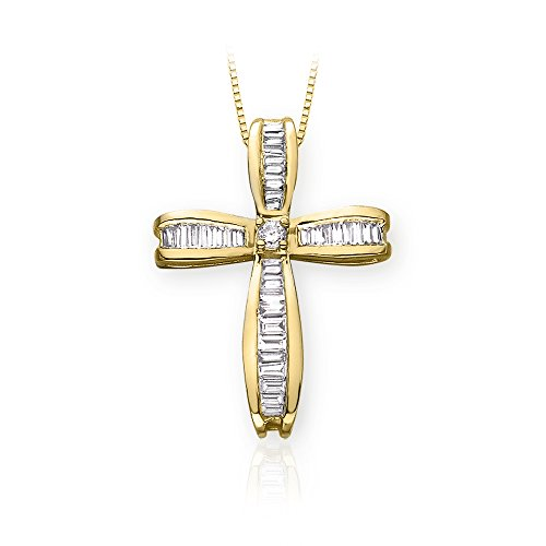 Baguette Yellow Cross (Round and Baguette Cut Diamond Cross Pendant with Chain in 14K Yellow Gold (7/8)