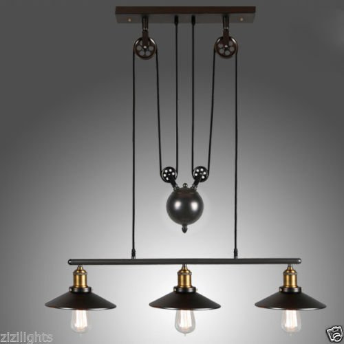 Vintage Industrial 3 Light Pulley Hanging Cafe Pendant Lamp Shade
