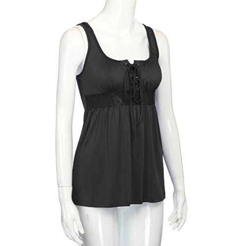Blusa de las mujeres camiseta OverDose blusa sin mangas de las tapas sin tirantes del vendaje Negro