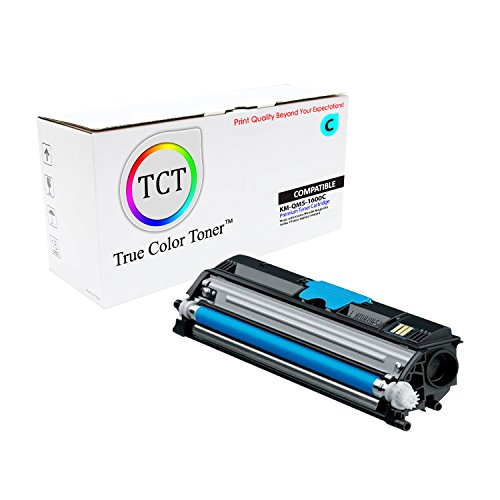 True Color Toner Cyan QMS 1600 Compatible Toner Cartridge Replacement also for A0V306F Konica Minolta Magicolor 1650 Laser Printer (2,500 Pages) (1650 Laser Printer)