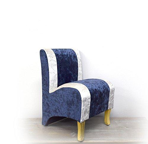 Butacas pequeña Mini sillón Madera Rebecca Mini P Vintage Estilo clásico tapizado miniaturas tamaño reducido BLU Blanco (Cod. 20150907)