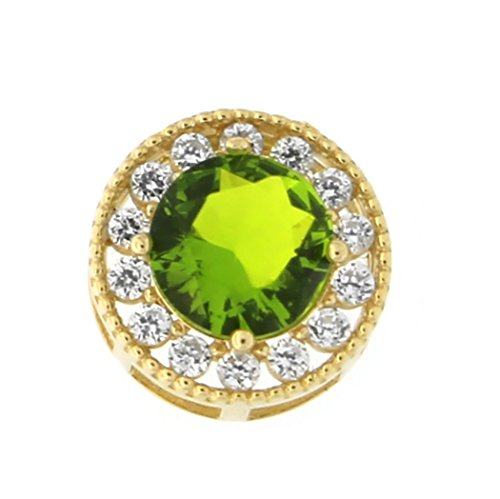 (Beauniq 14k Yellow Gold Simulated Peridot and Cubic Zirconia Slider Halo Pendant Necklace, Pendant only)