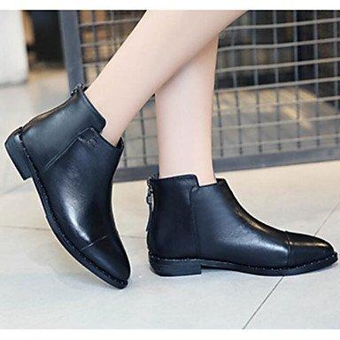 La mujer Confort Botas de cuero de vaca primavera otoño confort informal Chunky talón negro 1A-1 3/4 pulg. Black
