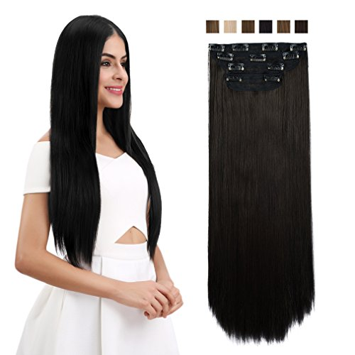 REECHO 24'' Straight Long 4 PCS Set Thick Clip in on Hair Extensions Black Brown by REECHO