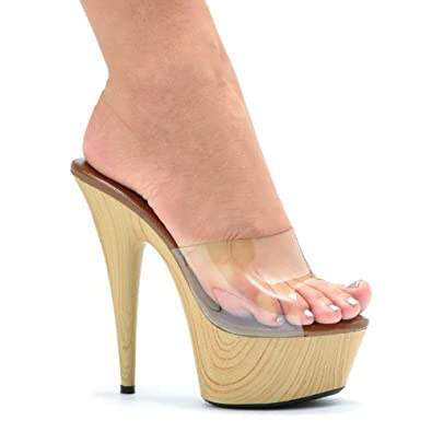 78d455a9debc Image Unavailable. Image not available for. Color  ELLIE 609-MYA 6 quot  Pointed  Stiletto Mule with Wood Bottom ...