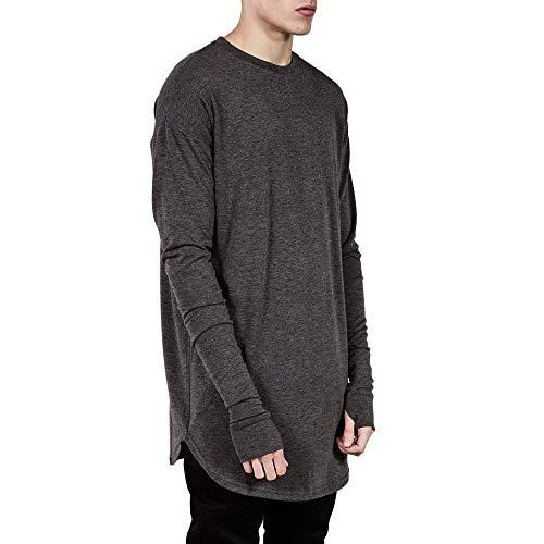 HOT Sales! NRUTUP Men's Fashion Casual O-Neck Hip Hop Loose Solid Long Sleeve T-shirt Top Blouse Cheap!(Gray,XL) (Spoon Long Sleeve T-shirt)