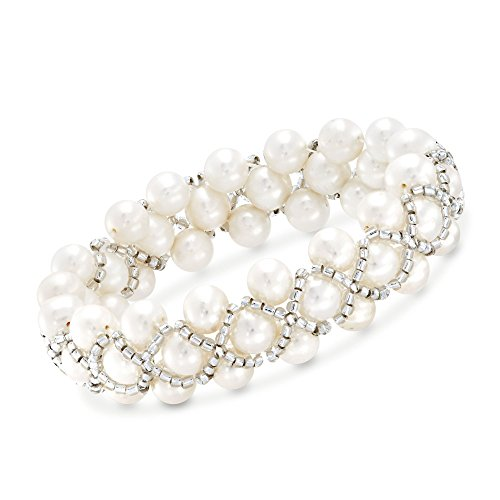 Ross-Simons 7-7.5mm Cultured Pearl and Gray Glass Bead Stretch Bracelet