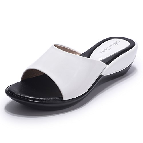 (Mona flying Womens Leather Platform Wedge Slide Sandals Casual Slippers for Women)
