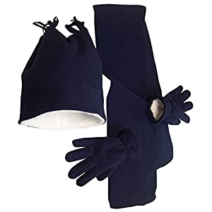 N'Ice Caps Boys Warm Sherpa Lined Double Layered Fleece Hat/Scarf/Glove Set