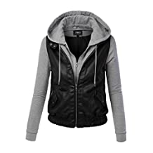 MITIAO Women's Zip Faux Leather Jackets Biker Bomber Removable Fleece Hood