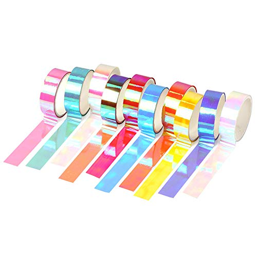 Huture Holographic Rainbow Colored Washi Masking Tape Decorative Craft Waterproof Adhesive Iridescent Tape 10 Roll Variety Kit -Assorted Color Craft Kit Tape for Boy Girl DIY Arts Decor