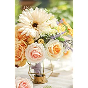 Ling's moment Artificial Gerbera Daisy Flowers Pack of 24 Cream Daisies Flower for DIY Wedding Bouquets Centerpieces Arrangements Home Decor 3
