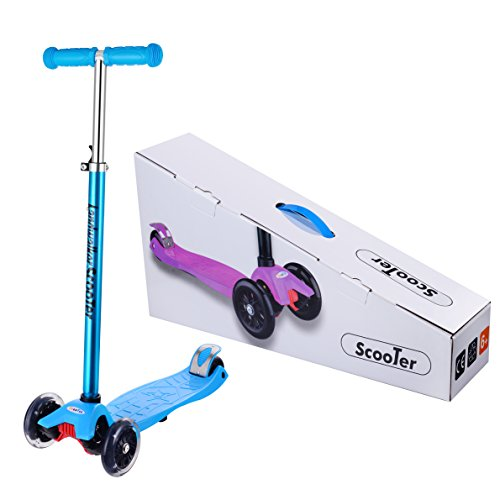 Landwalker Scooter with 3 LED Wheels for Children Boys and Girls ( Bell and Windmill as Free Gifts) (Blue 3 Wheel)