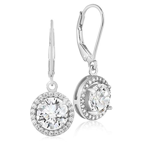 Lusoro 925 Sterling Silver Round AAA Cubic Zirconia Halo Leverback Dangle Earrings