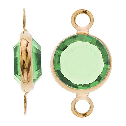 - Swarovski Crystal, Gold Plated Channel Connector Link, 7mm, 4 Pieces, Peridot