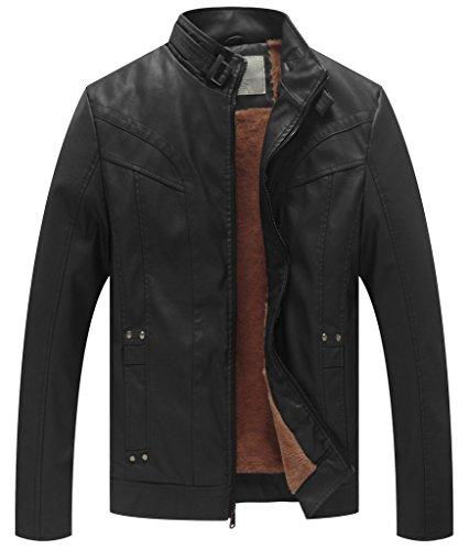 WenVen Men's Causal PU Leather Biker Zipper Coat (Black, Size XL)