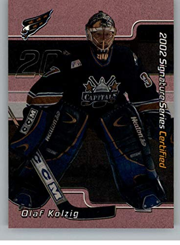2001-02 BAP Signature Series Certified 100 Hockey #C30 Olaf Kolzig SER/100 Washington Capitals Official NHL Trading Card Produced By In The Game ITG