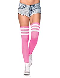 Leg Avenue womens Athlete Thigh-highs Stockings With 3-stripe Top