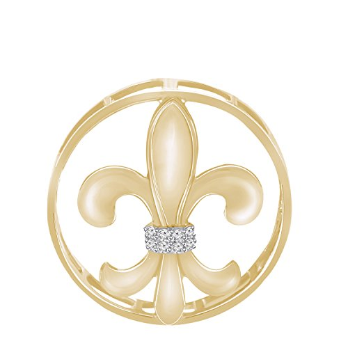 Pretty Jewels Round Diamond 0.06 Cttw 10k Yellow Gold Finish 925 Sterling Silver Fleur-de-Lis Necklace Pendant (Yellow-Plated)
