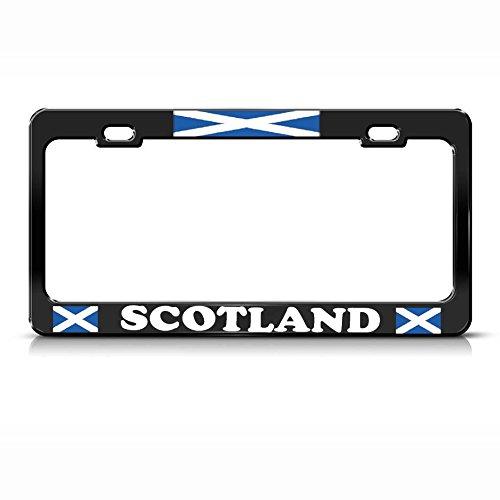Scottish Scotland Flag Heavy Duty Black Metal License Plate Frame Tag Border Perfect for Men Women Car garadge Decor -