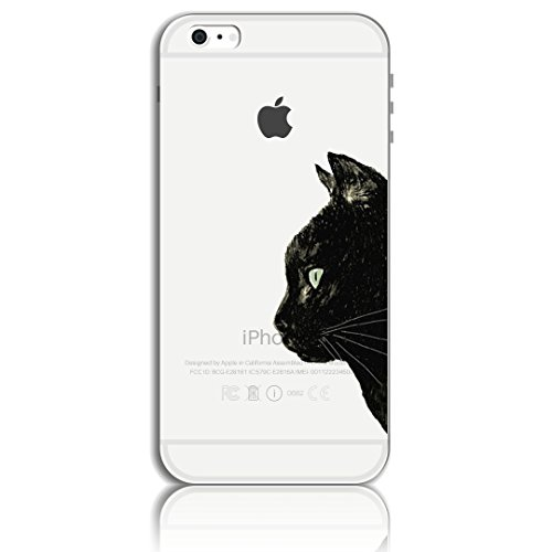 Funda iPhone 6 Carcasa, iPhone 6S Funda Case, Bonice [fusión} Suave TPU Silicona Premium Ultra Delgado Rubber Transparente Arte Diseño Creativo Gato Patrón Completo Funda Anti-rayas for iPhone 6 6S 4. Gato negro