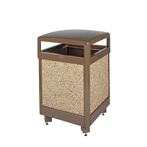 Rubbermaid Commercial Aspen Flat Top Trash Can with Rigid Plastic Liner, Square, 38 Gallon, Brown with Desert Brown Stone, FGR38HT201PL