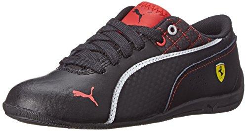 (PUMA Drift Cat 6 Leather Ferrari JR Sneaker (Little Kid/Big Kid), Black/Black/White, 4 M US Big Kid)