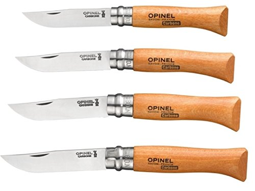 Bundle - 4 Items: Opinel No 6, No 7, No 8, and No 9 Carbon Steel Folding Knives (No Sheaths) by Opinel