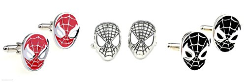 Superheroes Marvel Comics Spiderman Mask (3 Pair Asst) Cufflinks