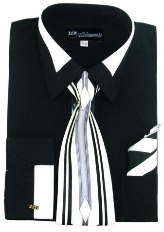 Milano Moda High Fashion Dress Shirt with Contrast Design Tie, Hankie & Cuffs Black-17-17 1/2-36-37